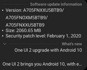 Samsung Galaxy A70 Android 10 update