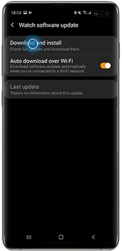 update software in the Galaxy Wearable app