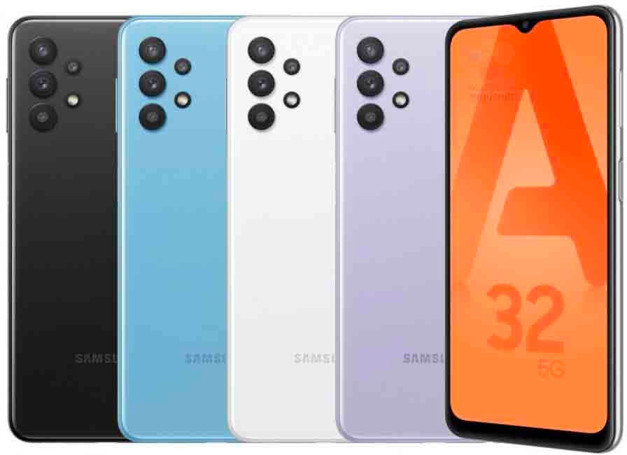 The Samsung Galaxy A32 5G is displayed in brightly colored