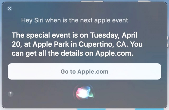 2021 Apple's Event is taking place on April 20 reveals by Siri
