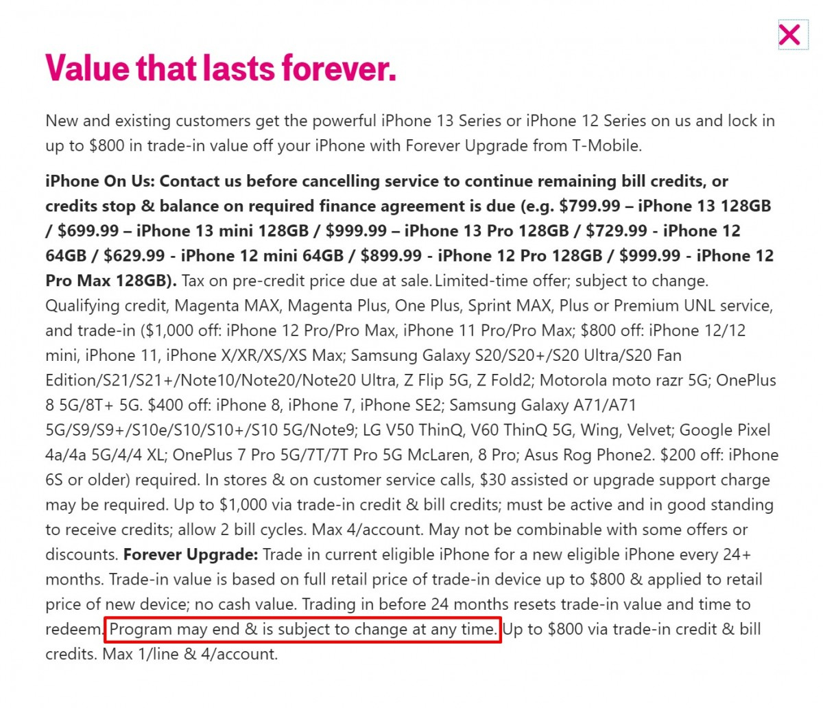"""T‑Mobile, with """"Forever Upgrade,"""" iPhone 13 Pro, iPhone 13 Pro Max, iPhone 13, iPhone 13 mini, iPad, and iPad mini"""